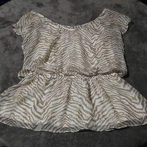 Express tan cream tiger print sheer blouse size M